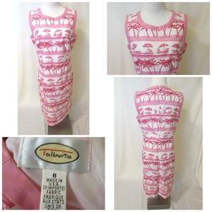 Talbots Sheath Dress Size 8 Lined Pink White